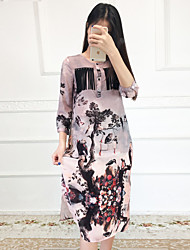Boutique S Going out Vintage / Chinoiserie Loose DressFloral / Animal Print Round Neck Midi  Length Sleeve