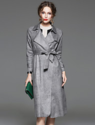 CELINEIA Women's Formal Simple CoatSolid Peaked Lapel Long Sleeve Spring / Fall Pink / Gray Polyester / Spandex