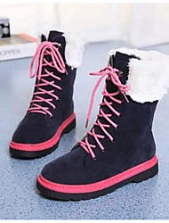 Women's Boots Fall Winter PU Outdoor Flat Heel Lace-up Black Blue Other