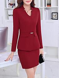 Damen Solide Blazer,Asymmetrisch Herbst Langarm Rot / Grau Andere Mittel