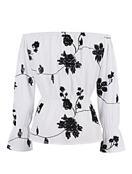 Damen Stickerei Retro Übergröße T-shirt,Bateau Alle Saisons ¾-Arm Weiß Baumwolle Mittel