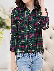 Feminino Camisa Casual Vintage Todas as Estações,Xadrez Vermelho / Verde Poliéster Colarinho de Camisa Manga Longa Média