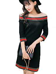Women's Casual Sweater Dress Striped Off Shoulder Above Knee  Sleeve White / Black / Yellow Fall / Winter