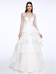 A-Line Illusion Neckline Floor Length Organza Wedding Dress with Tiered by LAN TING BRIDE®