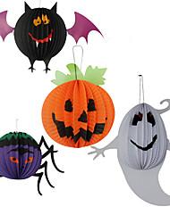 3pc aranha papel lanternas penduradas para o dia das bruxas traje do partido cor aleatória