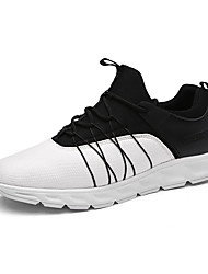 Men's Sneakers Spring / Fall Comfort / Round Toe Tulle Athletic Flat Heel Lace-up Black / Multi-color / Black and