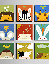 E-HOME® Stretched Canvas Art  Cartoon Animal Series Decoration Painting MINI SIZE One Pcs