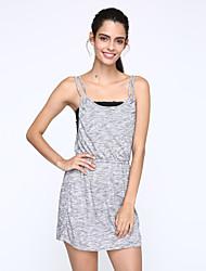 Robe Aux femmes Gaine Simple / Street Chic,Couleur Pleine A Bretelles Au dessus du genou Polyester