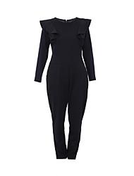 sólido branco macacão / preto, manga bodycon tripulação borboleta pescoço das mulheres