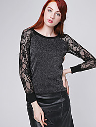 Women's Going out / Casual/Daily Simple / Street chic Summer / Fall T-shirtPatchwork Round Neck