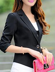 Women's Spring Blazer,Solid ¾ Sleeve White / Black / Orange Polyester Medium
