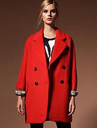 Damen Solide Einfach Formal Mantel,Herbst / Winter Steigendes Revers Langarm Rot / Schwarz Undurchsichtig Wolle / Polyester