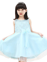 Girl's Casual/Daily Solid DressCotton Summer Blue / Pink / Yellow