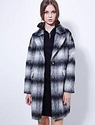 Manteau Aux femmes,Tartan Sortie Chic de Rue Manches Longues Revers en Pointe Noir Laine / Rayonne Moyen Hiver