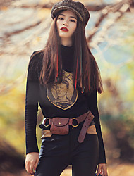 Aporia.As® Femme Col Arrondi Manche Longues T-shirt Noir-MZ12012