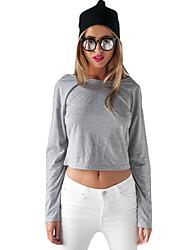 Damen Solide Einfach Lässig/Alltäglich T-shirt,Rundhalsausschnitt Frühling Langarm Grau Baumwolle Mittel