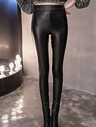 Pantaloni Da donna Skinny Sensuale / Semplice PU (Poliuretano) Elasticizzato