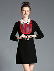 AUFOLI Autumn Winter Women Plus Size Retro Bead Embroidery Color Block Long Sleeve Patchwork Dress