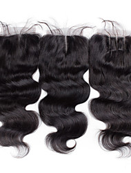 Top Quality 8inch to 20inch Black Hand Tied Body Wave Human Hair Closure Medium Brown Swiss Lace