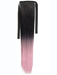 1pcs Clip in Ribbon Ponytail Hairpieces Straight Wrap Clip False Ponytail Drawstring With Clip in Ombre Ponytail