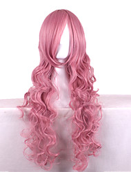 Synthetic Wig Cosplay Ruka Long Curly Pink Costume Wigs Capless Wigs