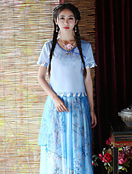 Our Story Going out Chinoiserie Spring / Fall T-shirtEmbroidered Round Neck Short Sleeve Blue Polyester Medium