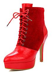 Feminino-Botas-Saltos / Plataforma / Botas Cano Curto / Bico Fino / Botas da Moda-Salto Agulha-Preto / Vermelho / Branco / Cinza-Courino-