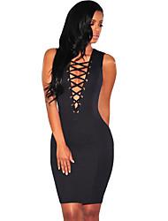 Women's Black Lace Up Sleeveless Dress