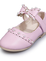 Girl's Flats Spring / Summer / Fall Closed Toe / Flats Microfibre Outdoor Flat Heel Bowknot / Pearl / Magic Tape