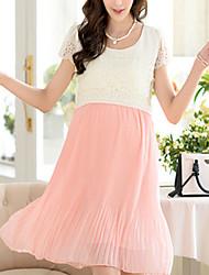 Round Neck Maternity Dress , Chiffon Mini Short Sleeve