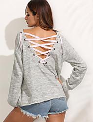 T-shirt Da donna Casual Moda città Primavera / Autunno,Tinta unita Rotonda Cotone Grigio Manica lunga Medio spessore