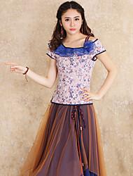 Débardeur Aux femmes,Fleur Sortie Vintage Eté Sans Manches Col Arrondi Rose Coton / Polyester / Spandex Moyen