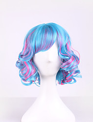 Cheaps Womens Heat Resistant Ombre Wig Synthetic Hair Curly 2 Color Wig Cosplay Short Wigs Wave