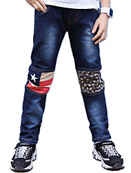 Boy's Casual/Daily Print Patched Washed Denim Pants / Jeans