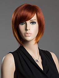 боб прическа монолитным прямые реального натуральных волос сторона взрыва парик
