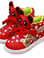 Fille-Extérieure / Décontracté-Rose / Rouge-Talon Plat-Confort-Sneakers-Similicuir