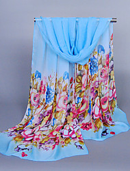 Women's Chiffon Flowers Print Scarf Blue/Red/Yellow/Pink