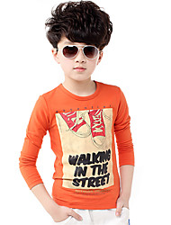 Boy's Wild Casual Letter Print Long Sleeve Cotton Tee