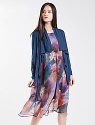 Yishidian® Damen Hemdkragen Lange Ärmel Pullover & Cardigan Blau / Schwarz-YSD1832LQ1
