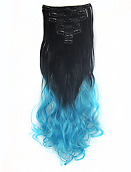 1Set Clip On Hair Extension 24inch 7pcst Natural Hairpieces Dip Dye Straight Synthetic Clip In ombre Hair Extensions