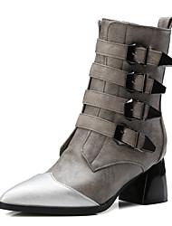 Damen-Stiefel-Kleid Lässig Party & Festivität-Kunstleder-BlockabsatzSchwarz Grau
