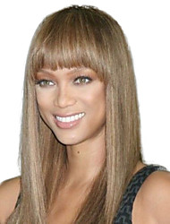 Women Long Straight Synthetic Hair Wigs Full Bang Brown Heat Resistant Fiber Cheap Cosplay Party Wig Hair