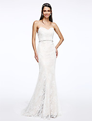 LAN TING BRIDE Trumpet / Mermaid Wedding Dress Floral Lace Court Train Sweetheart Lace with Crystal Lace