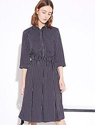 Feminino Camisa Vestido,Casual Simples Listrado Colarinho de Camisa Altura dos Joelhos Manga Longa Azul Poliéster Primavera / Outono