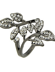 Rhinestone Leaf Shape Big Finger Rings
