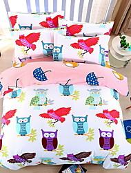 bedtoppings cachecol 4pcs duvet cover quilt definir o tamanho da rainha folha fronha plana colorido coruja impressões microfibra