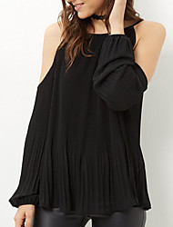 Women's Casual/Daily Street chic Spring / Fall ShirtSolid Off Shoulder Long Sleeve Black Linen Medium