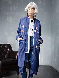 room404 femmes sortant street chic tranchée coatembroidered debout ressort long manche / automne bleu / noir