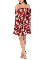 Ample Robe Femme Décontracté / Quotidien / Soirée / Cocktail Sexy,Fleur Epaules Dénudées Mini / Au dessus du genou Manches Longues Rouge