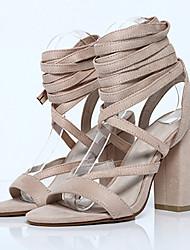 Women's Sandals Summer Heels / Platform / Open Toe Fabric Office & Career / Dress / Casual Chunky Heel Black